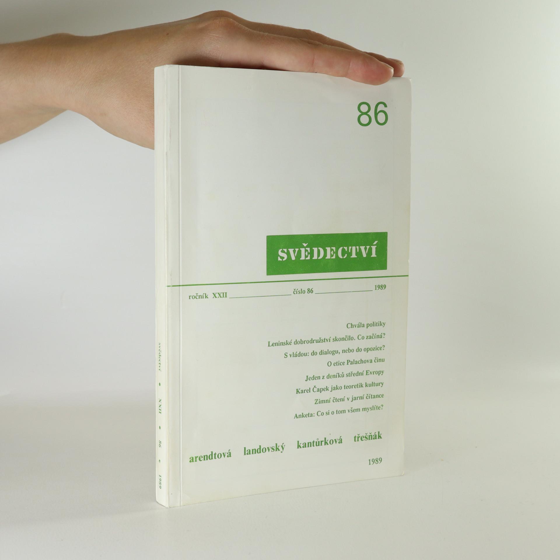 antikvární kniha Svědectví č. 86. Ročník XXII, 1989