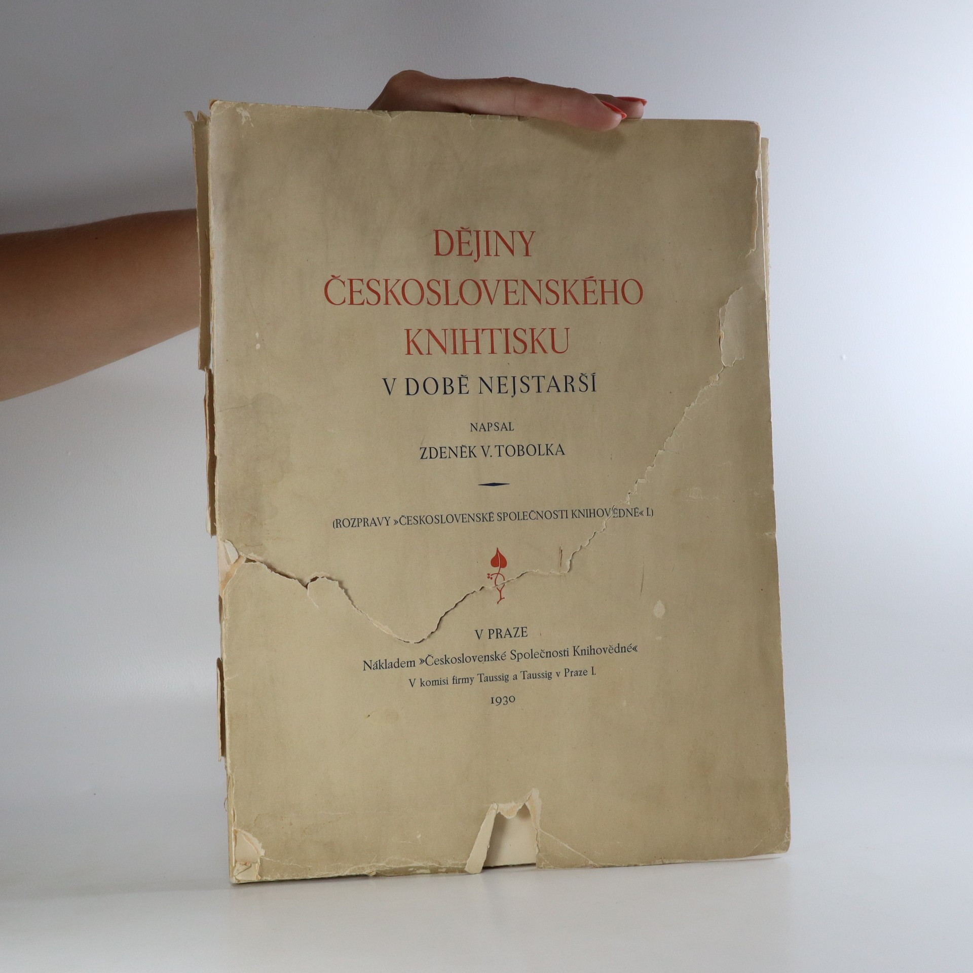 antikvární kniha Dějiny československého knihtisku v době nejstarší, 1930