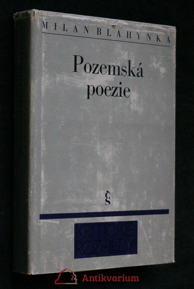 Pozemská poezie : Kapitoly k české poezii (1945-1975)
