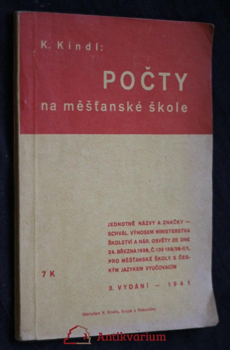 antikvární kniha Počty na měšťanské škole, 1941
