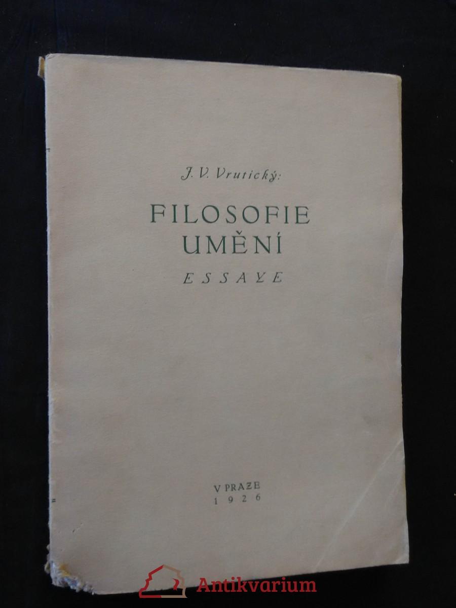 antikvární kniha Filosofie umění, 1926