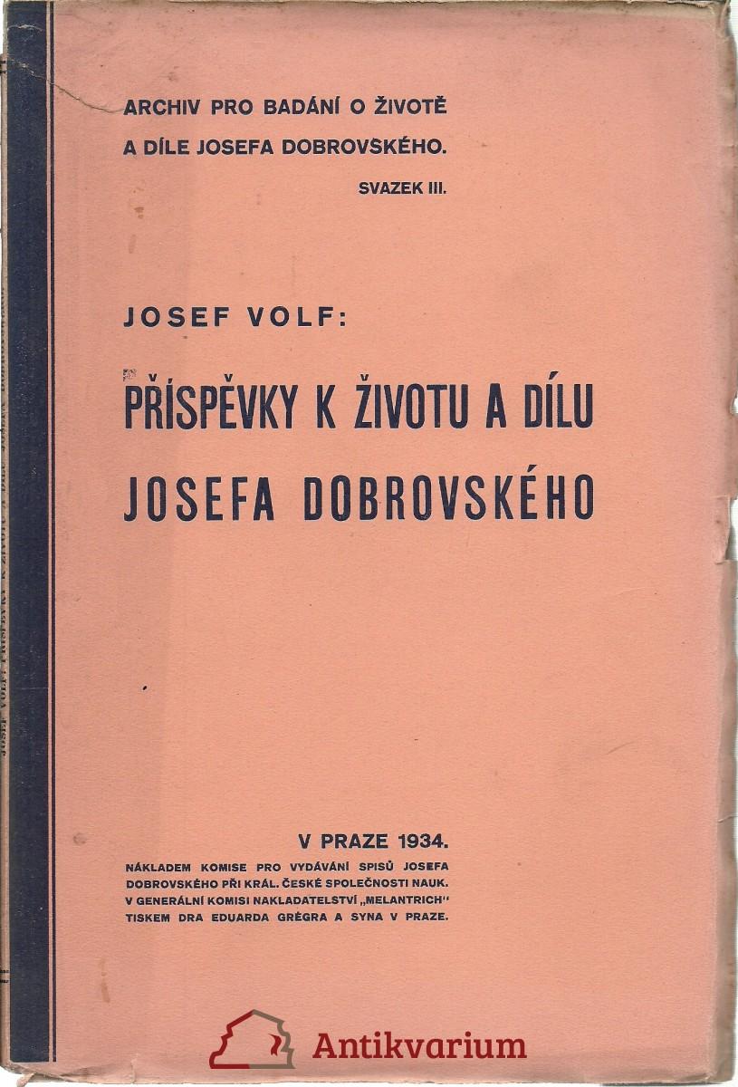 Příspěvky k životu a dílu Josefa Dobrovského