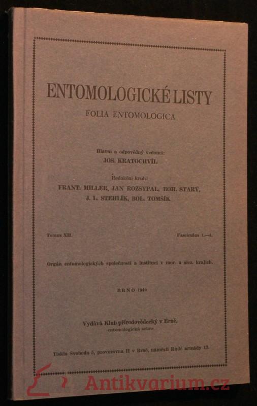 antikvární kniha Entomologické listy ročník XII, 1949