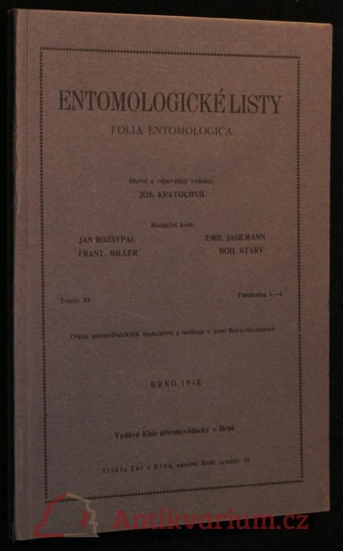 antikvární kniha Entomologické listy ročník XI, 1948