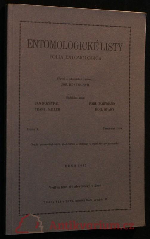 antikvární kniha Entomologické listy ročník X, 1947