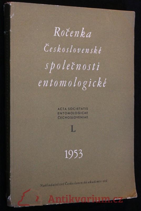 antikvární kniha Ročenka Československé společnosti entomologické 1953, ročník L, 1953