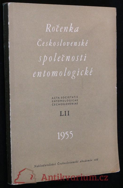 antikvární kniha Ročenka Československé společnosti entomologické 1955, ročník LII, 1955