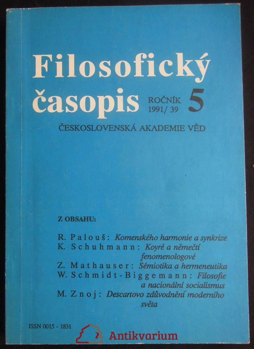 antikvární kniha Filosofický časopis, 1991