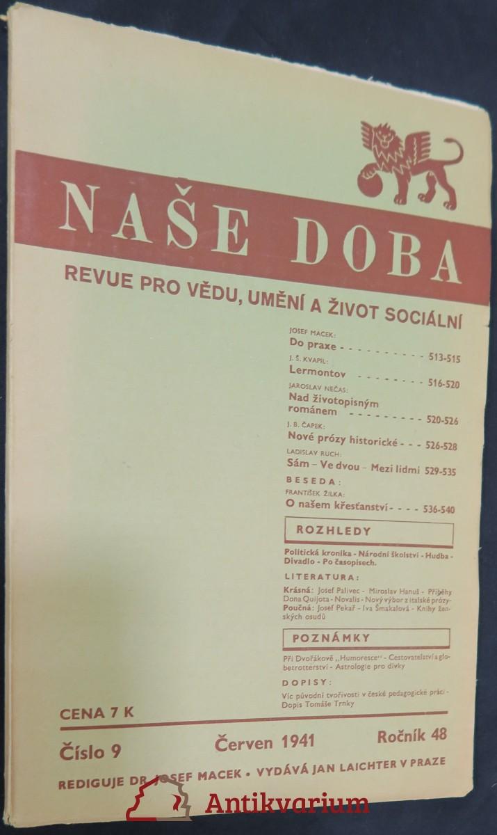 antikvární kniha Naše doba: revue pro vědu, umění a život sociální (ročník 48, číslo 9, červen 1941), 1941