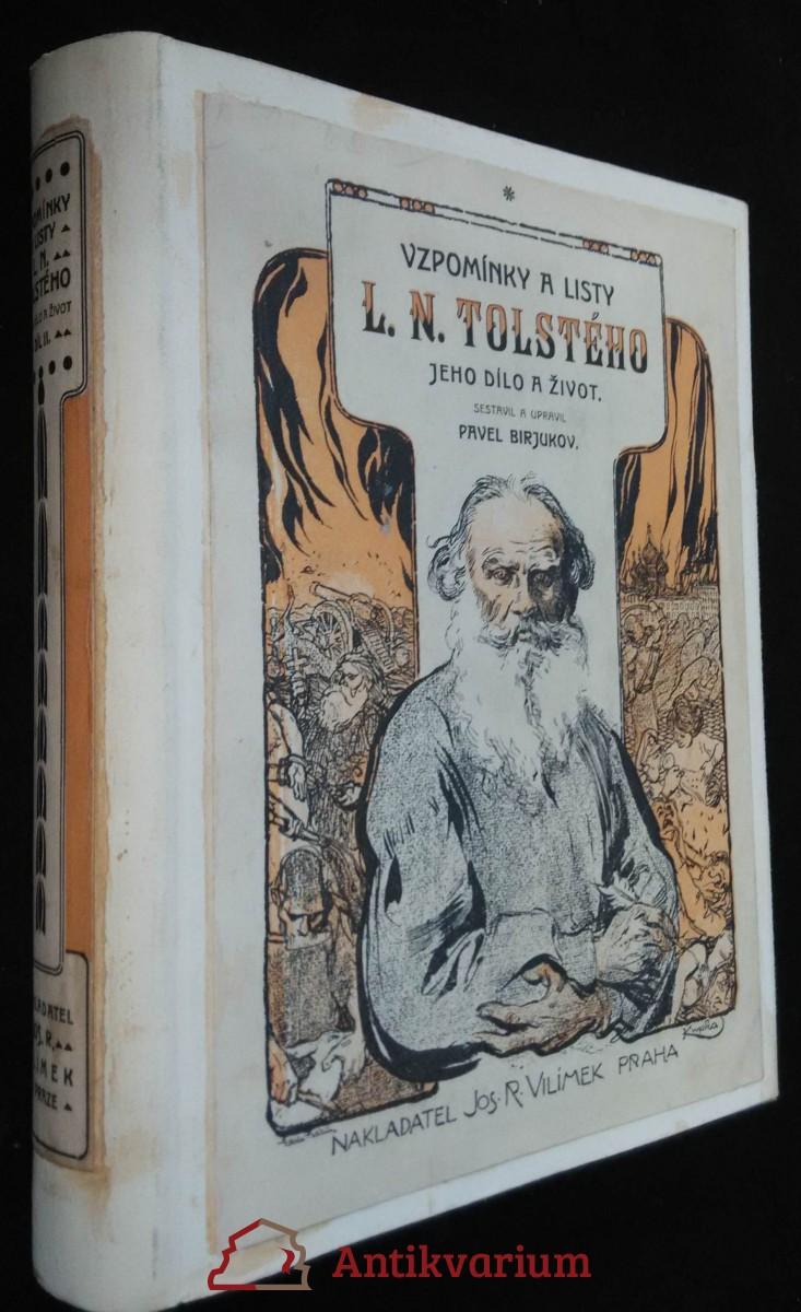 antikvární kniha Vzpomínky a listy L. N. Tolstého, neuveden