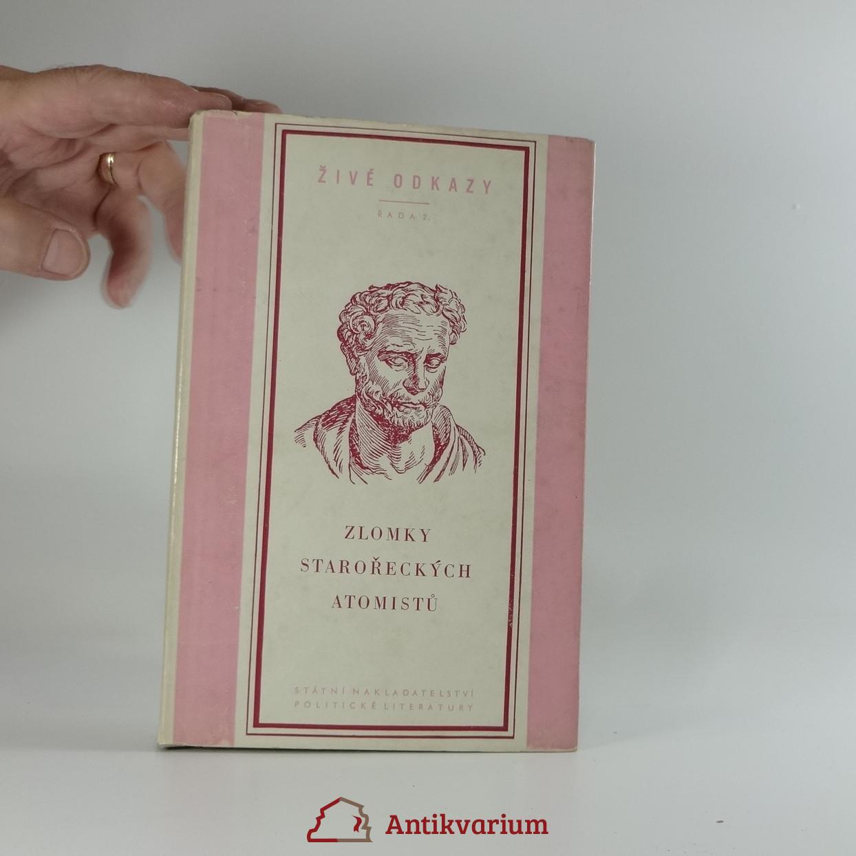 antikvární kniha Zlomky starořeckých atomistů, 1953