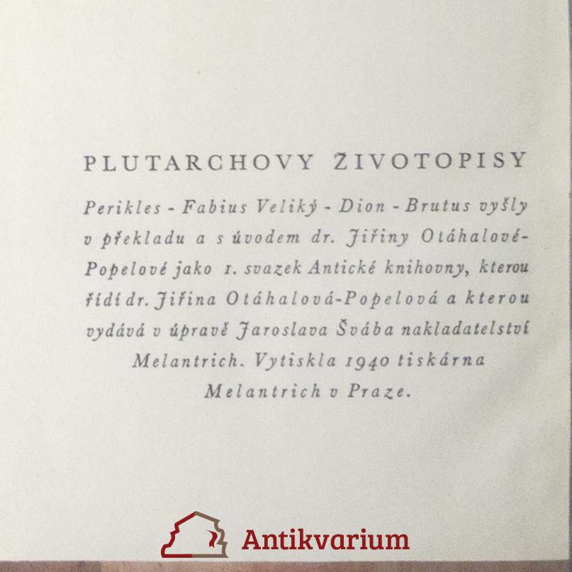 Plutarchos Plutarchovy Zivotopisy 1940 Antikvariat Praha