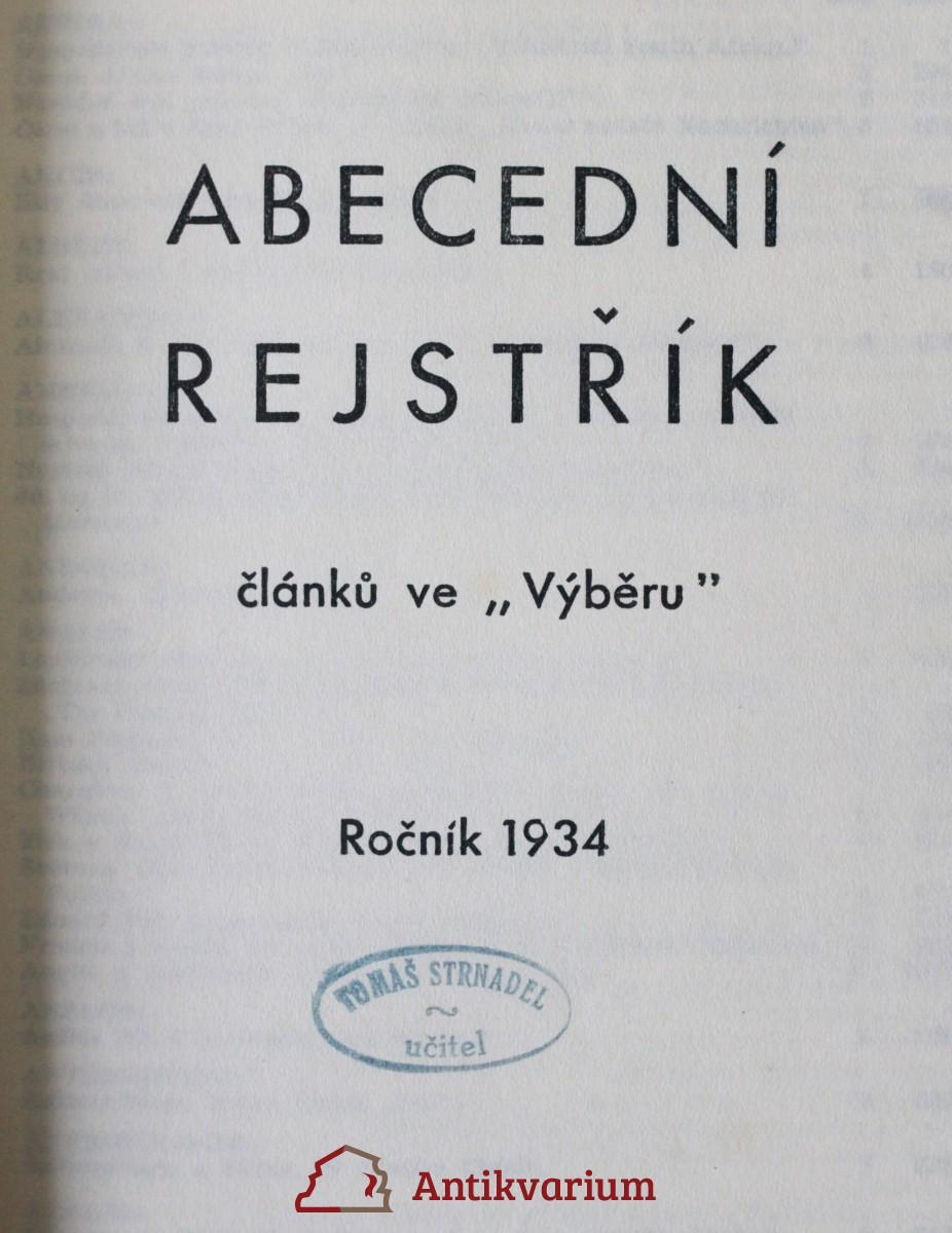 antikvární kniha Abecední rejstřík (1. - 2.), 1934