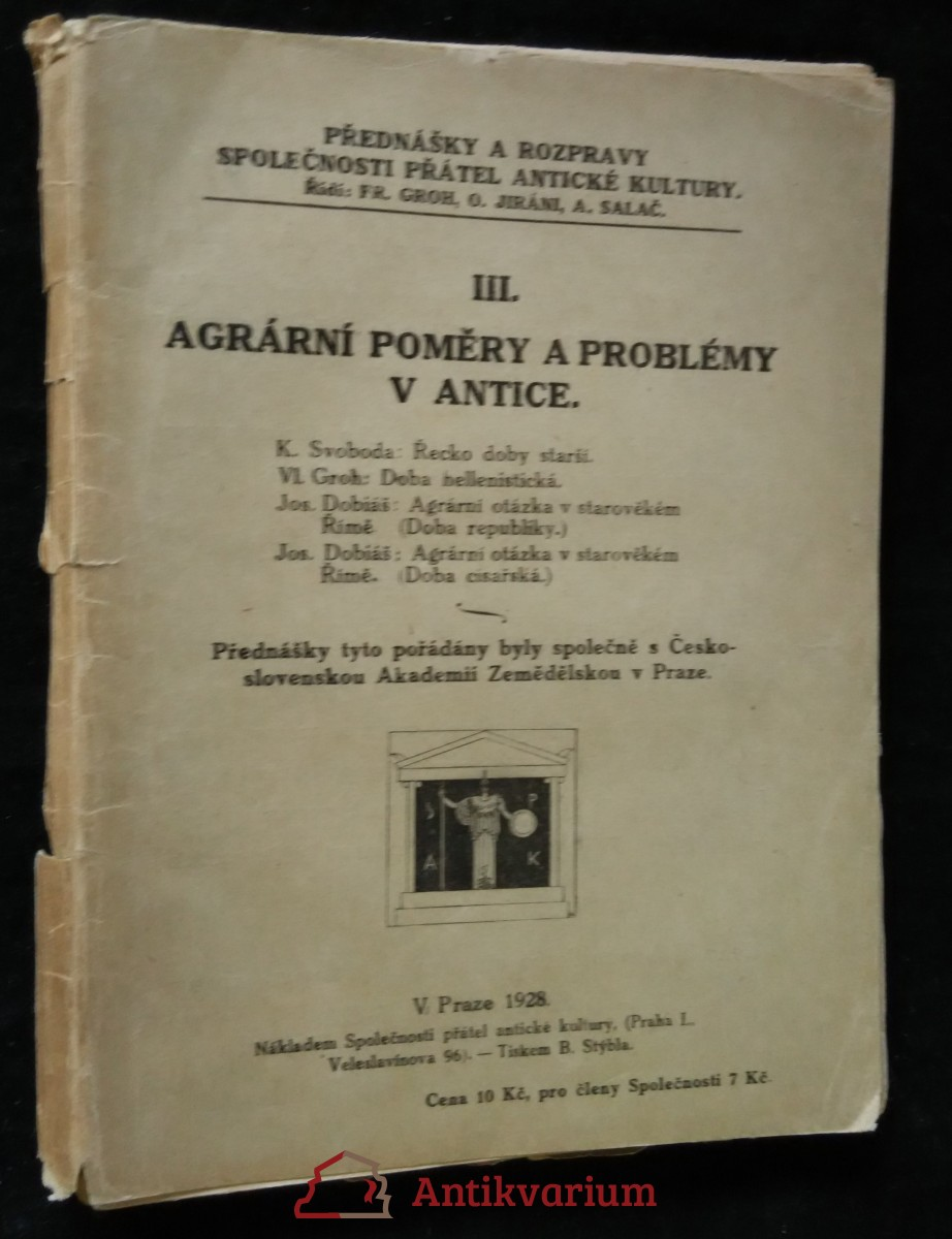 antikvární kniha Agrární poměry a problémy v antic, 1928