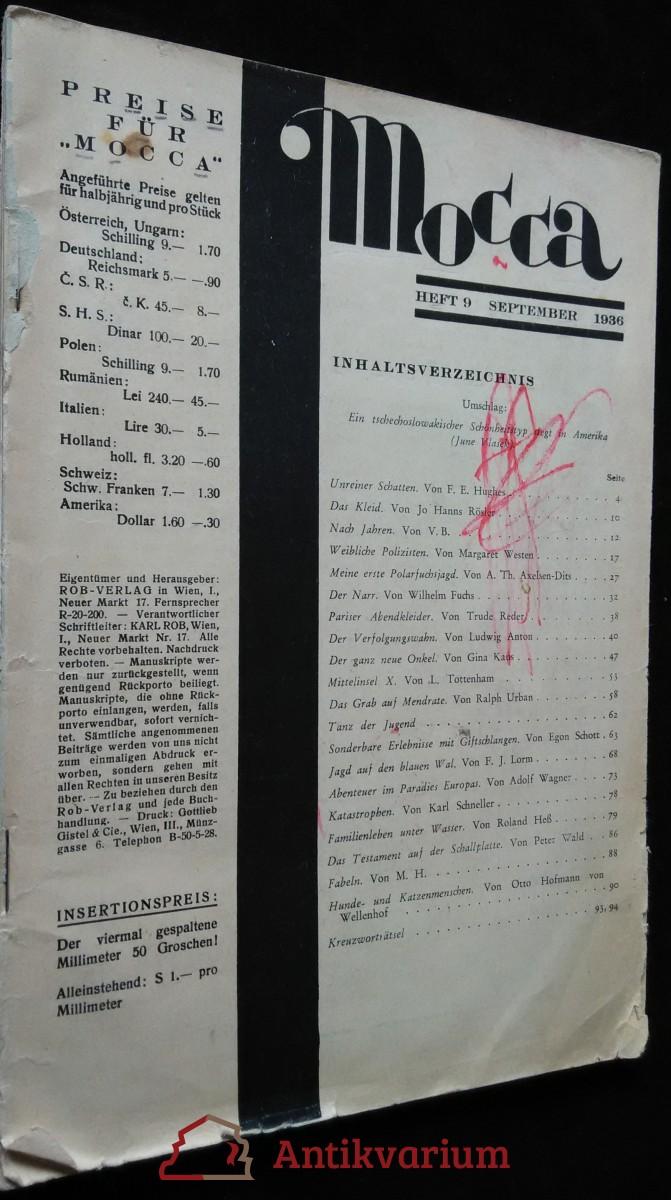 antikvární kniha Mocca - heft 9 - september 1936, 1936