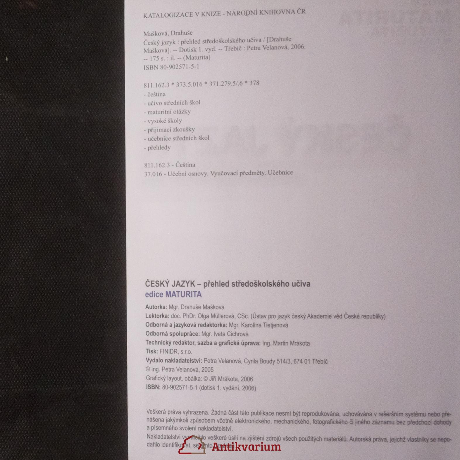 Cesky Jazyk Prehled Stredoskolskeho Uciva Antikvariat Praha