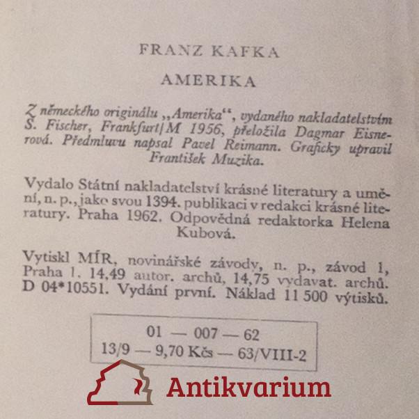 Kniha: Amerika - Kafka   Antikvariát Knihobot