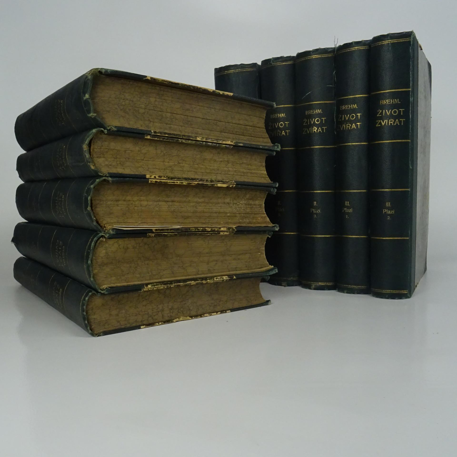 antikvární kniha Brehmův Život zvířat. Díl I. - Savci (Svazek I-III.). Díl II. - Ptáci (Svazek I - III). Díl III. - Plazi (Svazek I-II.). Díl IV. (Svazek I - Hmyz, Svazek II. - Korýši.)). (10 svazků), neuveden