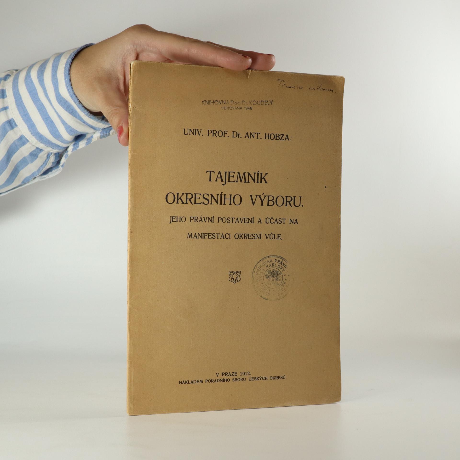 antikvární kniha Tajemník okresního výboru, 1912