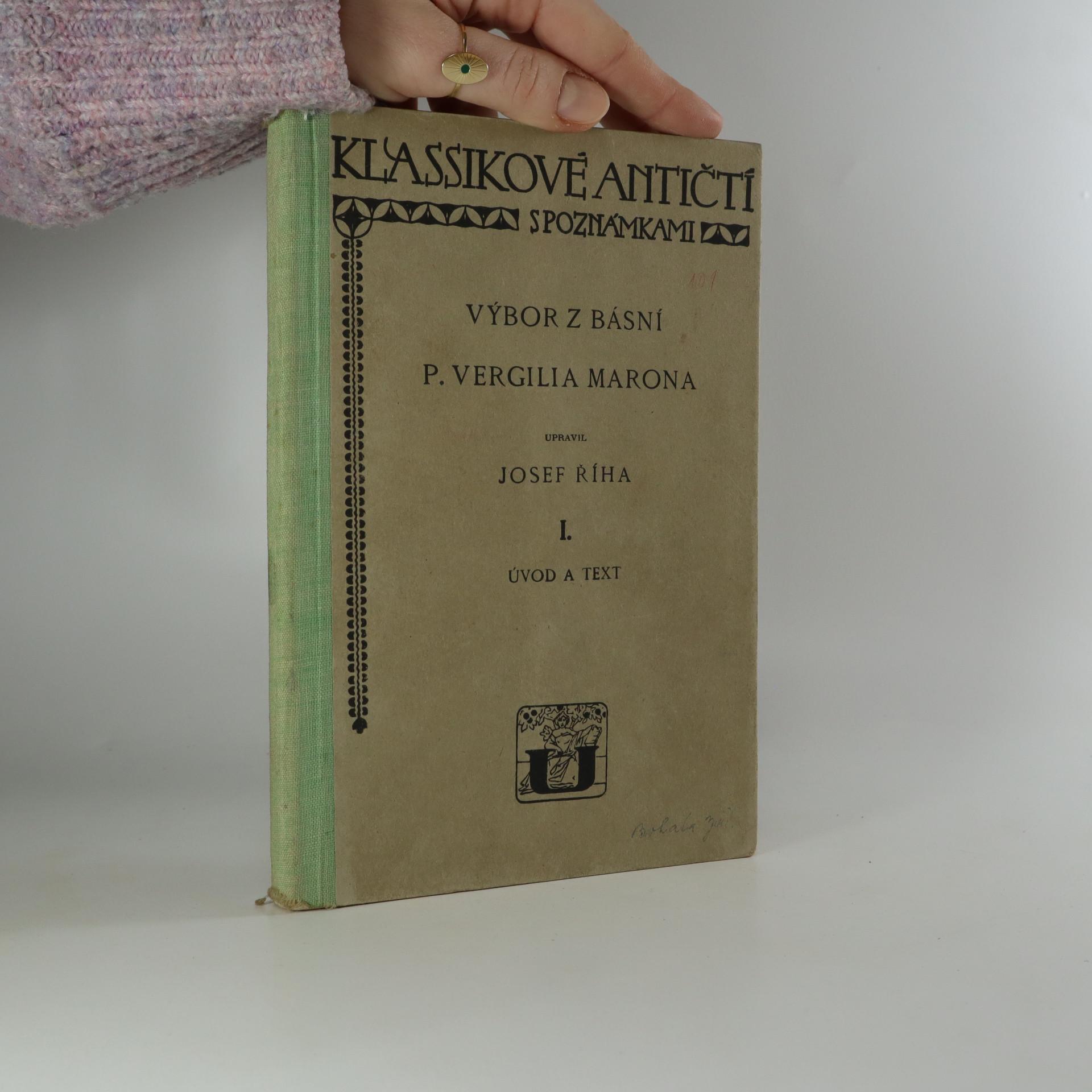 antikvární kniha Výbor z básní P. Vergilia Marona. I., Úvod a text., 1928