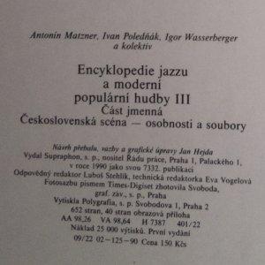antikvární kniha Encyklopedie jazzu a moderní populární hudby III. Část jmenná. Československá scéna - osobnosti a soubory, 1990