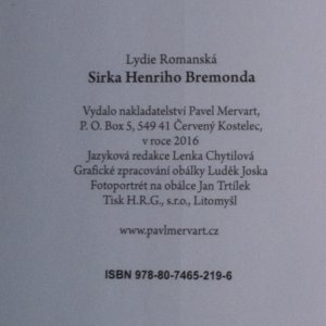 antikvární kniha Sirka Henriho Bremonda, 2016