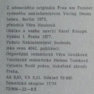 antikvární kniha Žena u okna, 1977