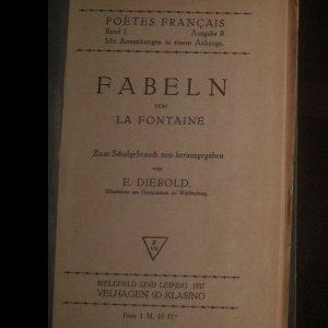 antikvární kniha Fabeln von La Fontaine, 1917