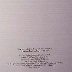 antikvární kniha Zprávy o geologických výzkumech v roce 2014. Geoscience research reports for 2014., 2015
