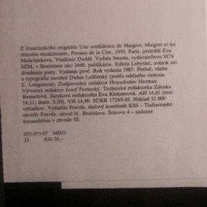 antikvární kniha Maigretovo rozprávanie, 1987