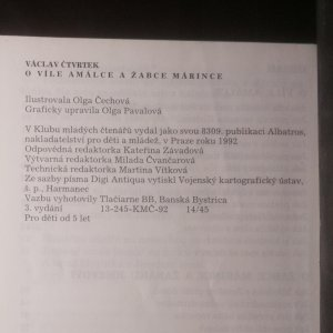 antikvární kniha O víle Amálce a žabce Márince, 1992