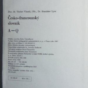 antikvární kniha Česko-francouzský slovník (2 svazky, viz foto), 1987-1988