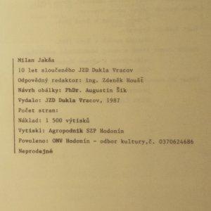 antikvární kniha 10 let sloučeného JZD Dukla Vracov, 1987