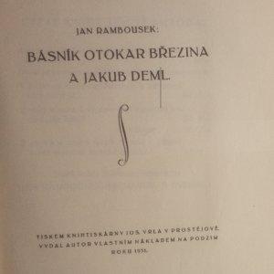 antikvární kniha Básník Otokar Březina a Jakub Deml, 1931