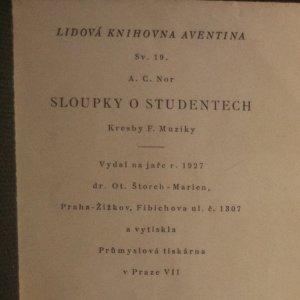 antikvární kniha Sloupky o studentech, 1927