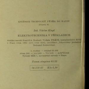 antikvární kniha Elektrotechnika v příkladech. Technický výběr do kapsy 45, 1962
