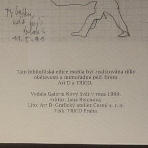 antikvární kniha Jiří Anderle. 192 kreslených vzkazů do zápisníku na dveřích architekta Aleše Synka v ulici Nový Svět č. 7 v Praze na Hradčanech z let 1985 -1991 (18 listů číslovaný výtisk 88/200. Podpis J. Anderle), 1999