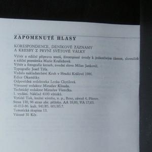 antikvární kniha Zapomenuté hlasy. Korespondence, deník. Nové záznamy a kresby z první světové války, 1986