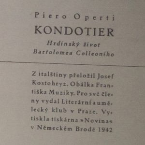 antikvární kniha Kondotier. Hrdinský život Bartolomea Colleoniho, 1942