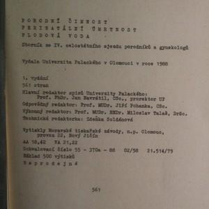antikvární kniha Porodní činnost. Perinatální úmrtnost. Plodová voda, 1988