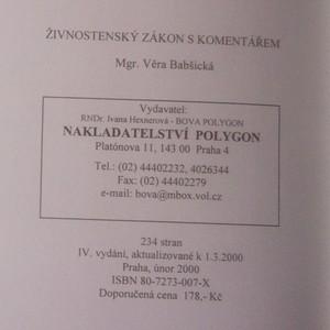 antikvární kniha Živnostenský zákon s komentářem a vzory podání. Aktualizované znění k 1.3.2000, 2000