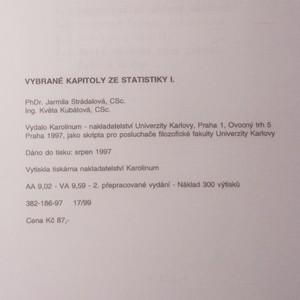 antikvární kniha Vybrané kapitoly ze statistiky I., 1997
