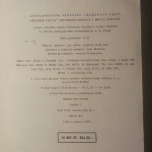 antikvární kniha Supplementum sborníku vědeckých prací Lékařské fakulty University Karlovy v Hradci Králové, 1975