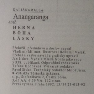 antikvární kniha Anangaranga aneb Herna boha lásky, 1992