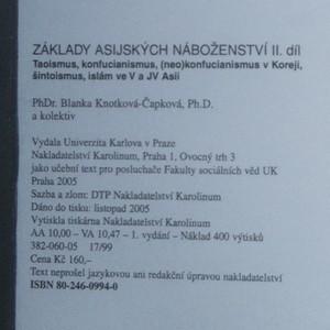 antikvární kniha Základy asijských náboženství. II. díl, Taoismus, konfucianismus, (neo)konfucianismus v Koreji, šintoismus, islám ve V a JV Asii, 2005