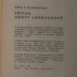 antikvární kniha Případ vdovy Lerougeové, 1965