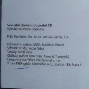 antikvární kniha Sexuální chování obyvatel České republiky. Výsledky národního průzkumu, 1999