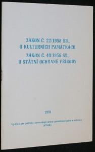 náhled knihy - Zákon č. 22/1958 SB., o kulturních památkách, Zákon č. 40/1958 SB., o státní ochraně přírody