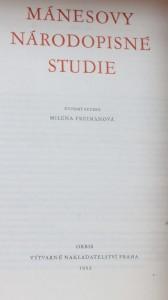 antikvární kniha Mánesovy národopisné studie, 1952