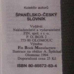 antikvární kniha Španělsko-český slovník , 1994